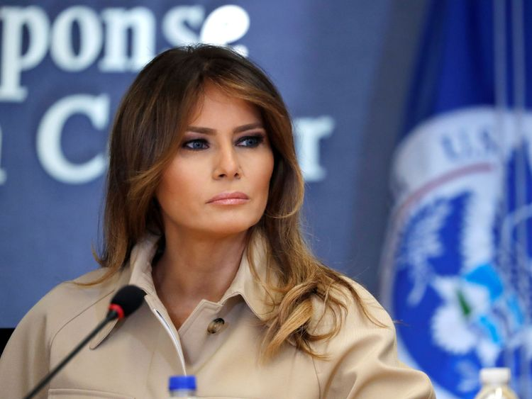 First lady Melania Trump appeared with President Donald Trump at a public event for the first time in almost a month