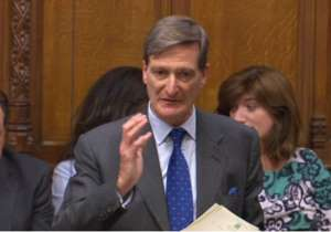 Dominic Grieve wearing a suit and tie: Remainer ringleader Dominic Grieve (pictured in the Commons today) has been pushing the government to commit to a 'meaningful vote' on the outcome of talks the EU
