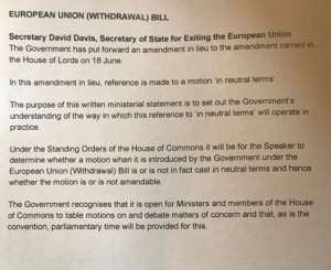a screenshot of text: Brexit Secretary David Davis has circulated a letter (pictured) which is designed to buy off Conservative rebels