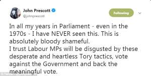 a screenshot of a cell phone: Lord Prescott, the former deputy PM - tore into Tory whips for making the MPs physically troop through the division lobbies despite their ill health