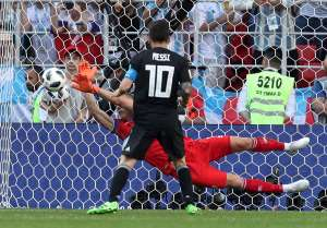Iceland's Hannes Por Halldorsson saves a penalty taken by Argentina's Lionel Messi