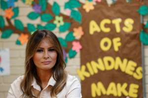 """U.S. first lady Melania Trump visits the Lutheran Social Services of the South """"Upbring New Hope Children's Center"""" as she visits the U.S.-Mexico border area in McAllen Texas, U.S., June 21, 2018. REUTERS/Kevin Lamarque"""