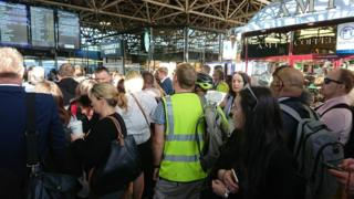 Crowded Bedford Railway Station