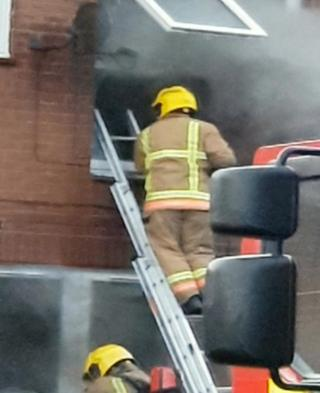 Firefighters at fire in Oak Square, Gateshead