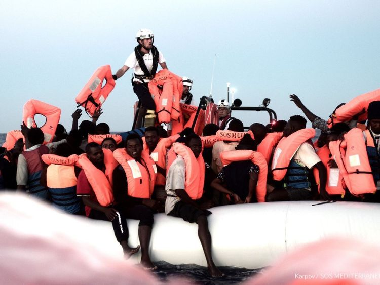 "Italy's new interior minister Matteo Salvini on Sunday said Malta cannot continue ""to look the other way"" and urged it to open its ports to an NGO migrant rescue ship which is in the Mediterranean with hundreds of people on board. Credit: MSF / SOS Mediterranee"
