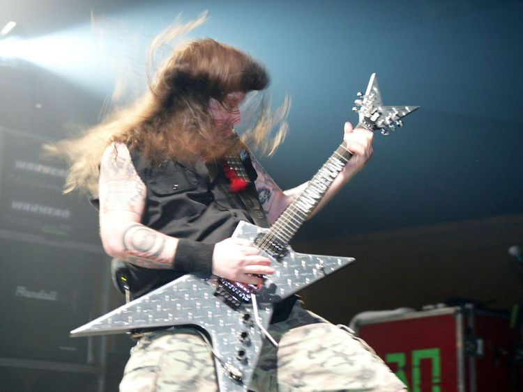 NEW YORK - APRIL 1: Heavy metal band guitarist 'Dimebag' Darrell Abbott of Damage Plan performs on stage during MTV2 Headbangers Ball Tour on April 1, 2004 at the Roseland Ballroom, in New York City. (Photo by Scott Gries/)