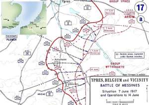 a close up of a map: The Battle of Messines took place on the Western Front in June 1917 in Belgium, around the village of Mesen