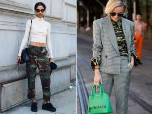 a couple of people that are talking to each other: Camouflage trend