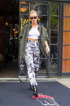 Hailey Baldwin is seen in the East Village on May 5, 2018 in New York City.