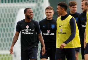 Soccer Football - World Cup - England Training - England Training Camp, Saint Petersburg, Russia - June 21, 2018   England's Raheem Sterling and Kieran Trippier during training   REUTERS/Lee Smith