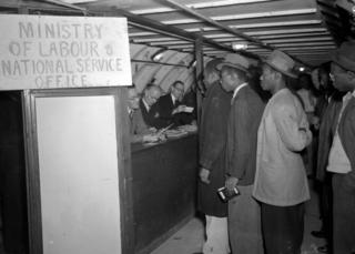 The Ministry of Labour and National Service Office on site at Clapham South Subterranean shelter on 23 June 1948, interviewing the new arrivals and helping them find work.