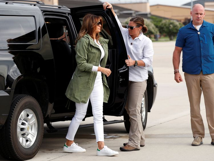 Melania Trump at Joint Base Andrews in Maryland