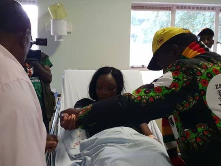 The president later visited those injured in hospital