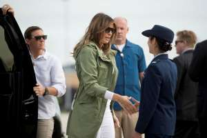 First lady Melania Trump arrives to board a plane at Andrews Air Force Base, Md., Thursday, June 21, 2018, to travel to Texas. (AP Photo/Andrew Harnik)