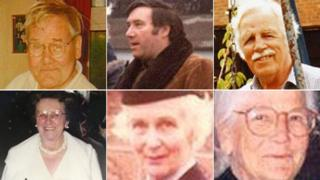 (Clockwise from top left) Robert Wilson, Geoffrey Packman, Arthur (Brian) Cunningham, Sheila Gregory, Enid Spurgin and Elsie Devine
