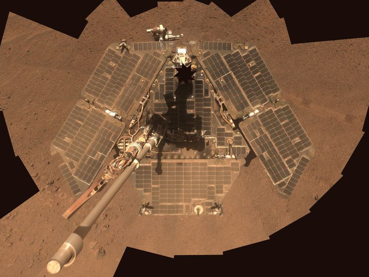 The Opportunity rover pictured in 2014