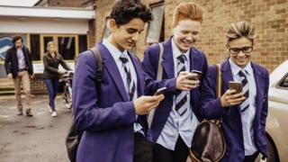 Pupils on phones
